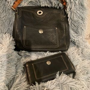 Coach Black Leather Purse & Matching Wallet